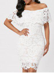 Off Shoulder Lace Bodycon Sheath Formal Dress - WHITE