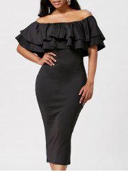 Flounce Off The Shoulder Bodycon Dress