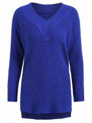 Drop Shoulder High Low Plus Size Sweater -