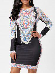 Tribal Print Fitted Dress with Sleeves - BLACK S
