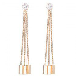 Metallic Link Chain Tiny Rectangle Rhinestone Earrings