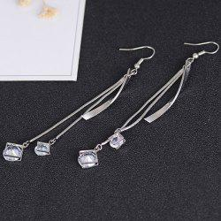Faux Diamond Metallic Link Chain Hook Earrings