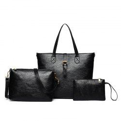 Three Pieces PU Leather Buckle Strap Shoulder Bag Set - BLACK