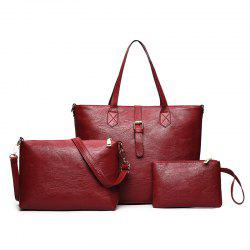 Three Pieces PU Leather Buckle Strap Shoulder Bag Set -