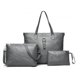 Three Pieces PU Leather Buckle Strap Shoulder Bag Set