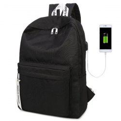 USB Interface Nylon Zippers Backpack - BLACK