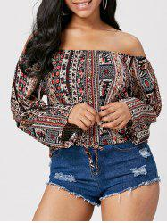 Boho Print Off The Shoulder Boho Top