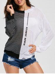Stripe Color Block See Through Sweater