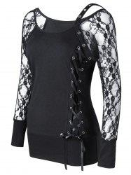Raglan Sleeve Fitted Lace Up Top - BLACK M