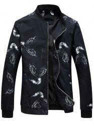Zip Up Phoenix Print Bomber Jacket