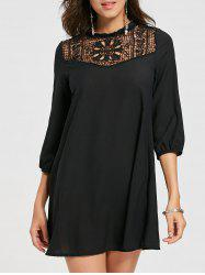 Sheer Lace Insert Chiffon Mini Dress