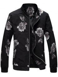 Zip Up Rose Print Bomber Jacket