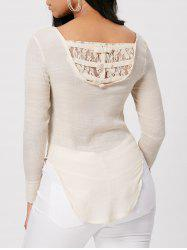 Sheer Lace Insert High Low Bowknot Top