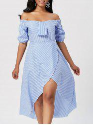 High Low Striped Off Shoulder Dress - STRIPE
