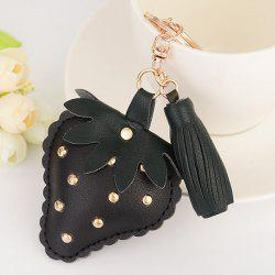 Tassel Rivet Strawberry Design Keychain - BLACK