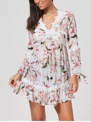 Empire Waist Flower Print Chiffon Tunic Dress