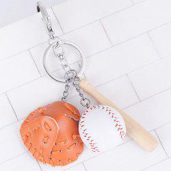Tiny Cartoon Baseball Set Design Keyring - BRIGHT ORANGE