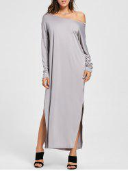 Maxi Long Sleeves Side Slit Dress