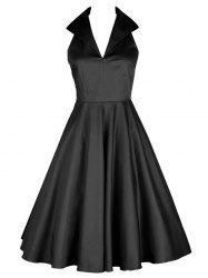 Vintage Turn Down Collar Skater Pin Up Dress