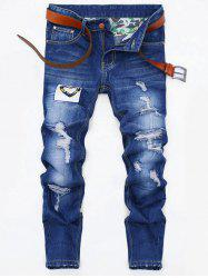 Applique Design Zip Fly Ripped Jeans