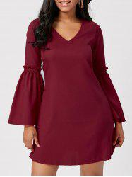 V Neck Flare Sleeve Mini Shift Dress