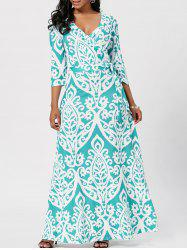 Wrap Ethnic Print Maxi Dress