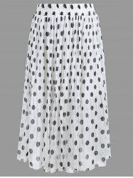 Polka Dot Pleated Plus Size Skirt