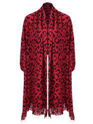 Fringed Leopard Print Plus Size Knitted Cape