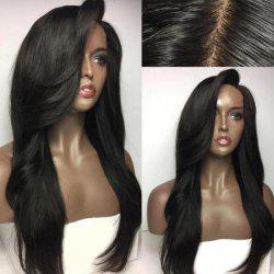 Deep Side Part Long Natural Straight Synthetic Wig -