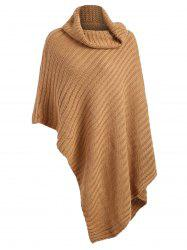 Plus Size Chunky Funnel Neck Poncho Sweater