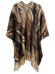 Printed Fringed Plus Size Knit Cape