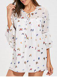 Flare Sleeve Chiffon Lounge Shift Dress