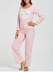 Heart Shape Sweatshirt with Pants Fleece Loungewear Set