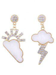 Rhinestone Cloud Sun Lightning Asymmetric Earrings