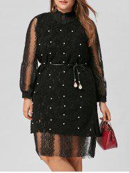 Plus Size Belted Lace Dress with Pearl Embellished Vest