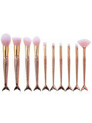 10Pcs Mermaid Design Ombre Hair Makeup Brushes Kit - GOLDEN