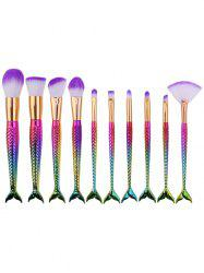 10Pcs Mermaid Design Ombre Hair Makeup Brushes Kit -