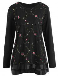 Plus Size Mesh Floral Embroidered Overlay Top
