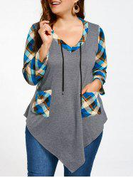Tartan Plus Size Long Sleeve Asymmetrical T-shirt