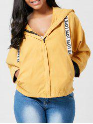 Batwing Sleeve Zip Up Hooded Jacket
