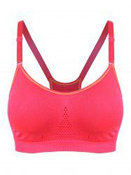 Adjustable Comfortable Sports Padded Bra - RED L