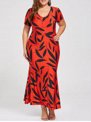 Plus Size Printed Maxi Mermaid Sheath Dress