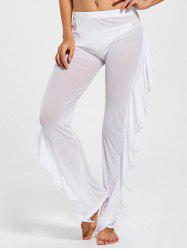Ruffled See Through Mesh Cover Up Pants - WHITE M