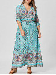 Button Plus Size V Neck Maxi Dress