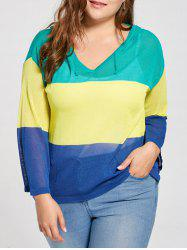 Plus Size Transparent  Color Block Hooded Sweater
