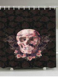 Flowers Skull Print Fabric Waterproof Bathroom Shower Curtain