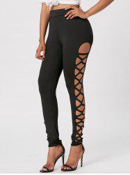 Cut Out Skinny Lace Up Leggings - BLACK