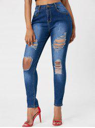 High Waisted Ripped Jeans - BLUE