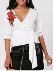 Belt Embroidery Floral Wrap Blouse