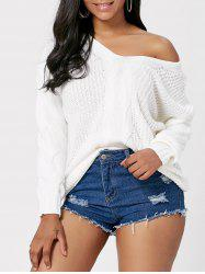 Cable Knit Deep V Neck Sweater